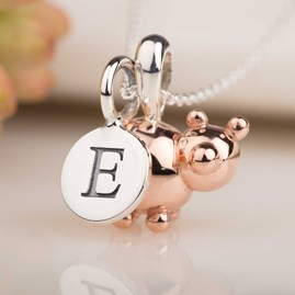 Personalised Rose Gold Balloon Pig Pendant