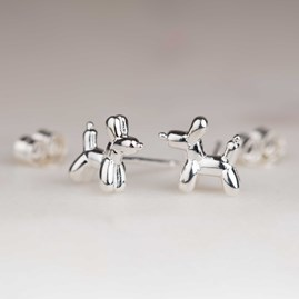 Solid Silver Balloon Dog Stud Earrings