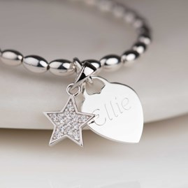 Personalised Children's Silver Star Charm Bracelet
