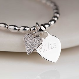 Personalised Children's Silver Heart Charm Bracelet