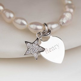 Personalised Children's Pearl Star Charm Bracelet