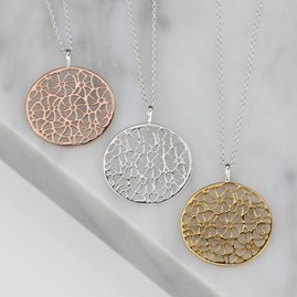 Silver, Gold Or Rose Gold Filigree Pendant