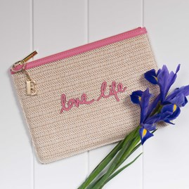 Katie Loxton Personalised Woven Straw 'Love Life' Pouch