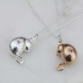 Silver Or Rose Gold Dormouse Pendant