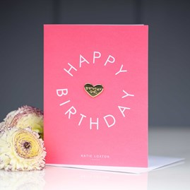 'Happy Birthday' Card With Heart Pin