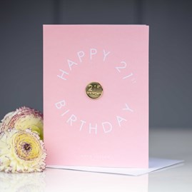 Katie Loxton 'Happy 21st Birthday' Card With Gold Pin
