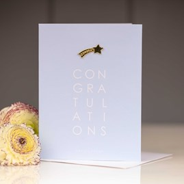 Katie Loxton 'Congratulations' Greetings Card With Star Pin