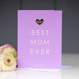 Katie Loxton 'Best Mum Ever' Card With Heart Pin