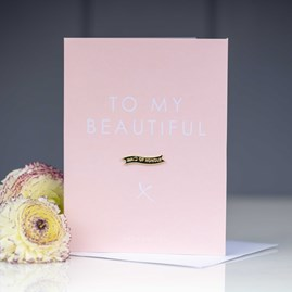 Katie Loxton 'To My Beautiful Maid Of Honour' Card With Gold Pin