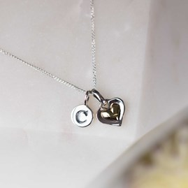 Personalised Silver Double Heart Pendant