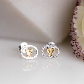 Silver And Gold Oval Heart Stud Earrings