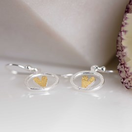 Silver And Gold Oval Heart Earrings