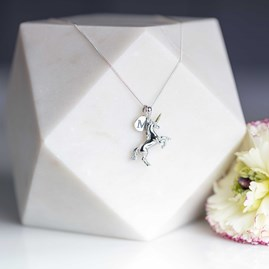 Personalised Solid Silver Unicorn Necklace