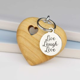 Handmade Wooden Heart Message Keyring