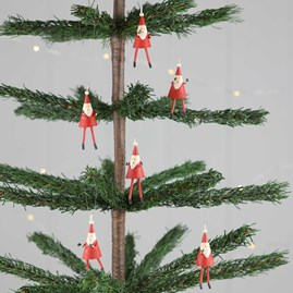 Mini Father Christmas Decorations Pack Of Six