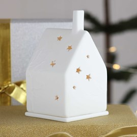 Porcelain Tea Light House With Trees And Stars