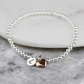 Personalised Skinny Missy Bracelet With Heart Charm