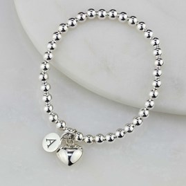 Personalised Children's Solid Silver Heart Bracelet