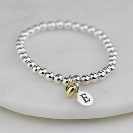Personalised Children's Bracelet With Gold Heart Charm