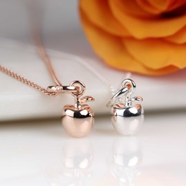 Rose Gold Or Silver Apple Pendant