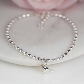 Beaded Solid Silver And Rose Gold Robin Bracelet