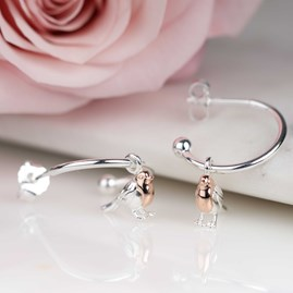 Rose Gold And Solid Silver Robin Hoop Earrings