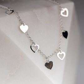 Solid Silver Open Heart Charm Bracelet