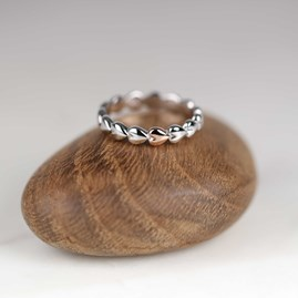 Solid Silver And Rose Gold Interlocking Heart Ring
