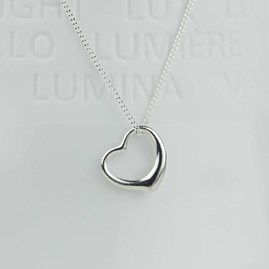 Solid Silver Open Heart Necklace