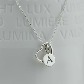 Personalised Solid Silver Open Heart Necklace