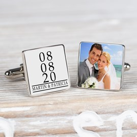 Personalised Photo And Date Cufflinks