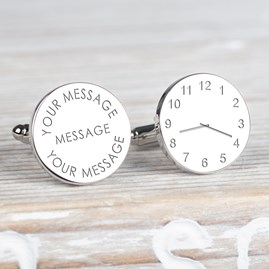 Personalised Any Message And Time Silver Cufflinks