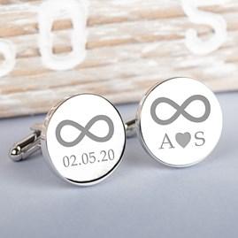Personalised Silver Infinity Cufflinks