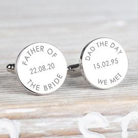 Personalised 'Dad The Day We Met...' Wedding Cufflinks