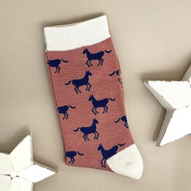 Bamboo Horses Socks In Dusky Pink