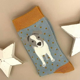 Bamboo Jack Russell Pup Socks In Duck Egg