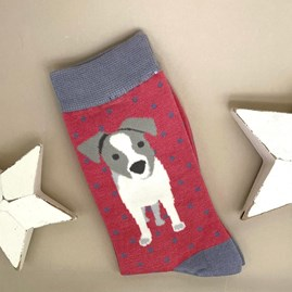 Bamboo Jack Russell Pup Socks In Pink