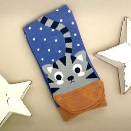 Bamboo Kitty & Spots Socks In Blue