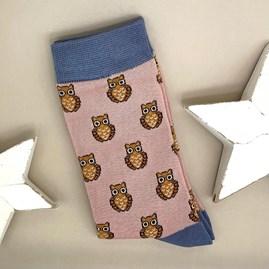 Bamboo Owls Socks In Dusky Pink