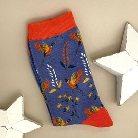 Bamboo Pheasants & Flowers Socks In Denim