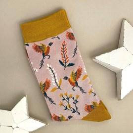 Bamboo Pheasants & Flowers Socks In Dusky Pink