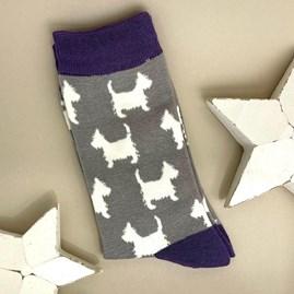 Bamboo Scottie Dog Socks In Light Grey