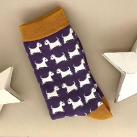 Bamboo Scottie Dog Socks in Purple