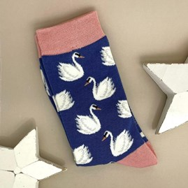 Bamboo Swans Socks In Blue