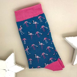 Bamboo Wild Flamingos Socks In Denim