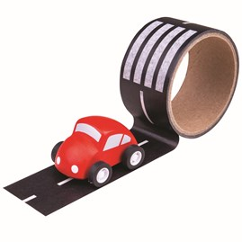 Roadway Tape with Wooden Car