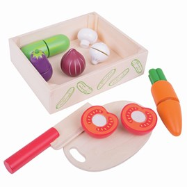 Wooden Cutting Veg Play Food in Crate