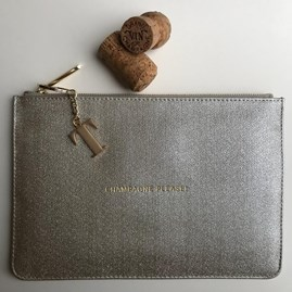 Katie Loxton Personalised 'Champagne Please' Sparkly Silver Pouch