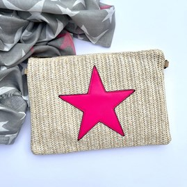 Cream Rattan Clutch Bag with Neon Pink Star