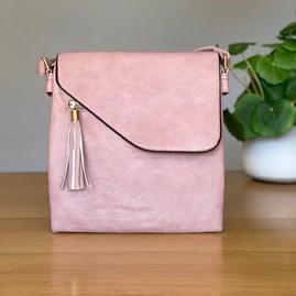 Cross Body Bag With Tassel in Pink
